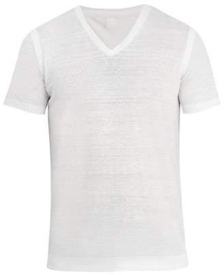 120% Lino V-neck linen-jersey T-shirt