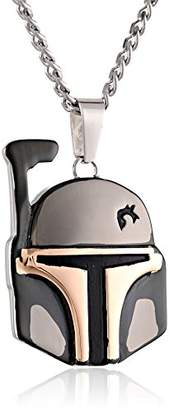 Star Wars Jewelry Unisex Boba Fett Helmet Stainless Steel and Ion-Plated Pendant Necklace