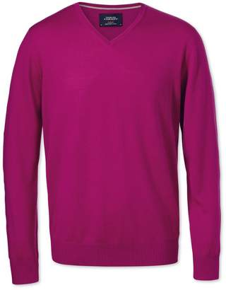 Charles Tyrwhitt Fuchsia Merino Wool V-Neck Sweater Size XXL