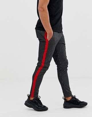 Jack and Jones Originals stripe pants with side panel in navy