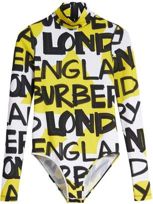 Burberry Graffiti Print Stretch Jersey Bodysuit
