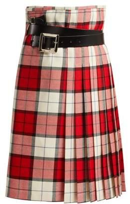 Charles Jeffrey Loverboy - Wallace Tartan Wool Skirt - Womens - Red White