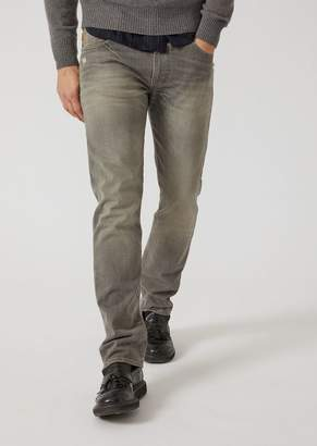 Emporio Armani J45 Slim Fit Stone-Washed Denim Jeans