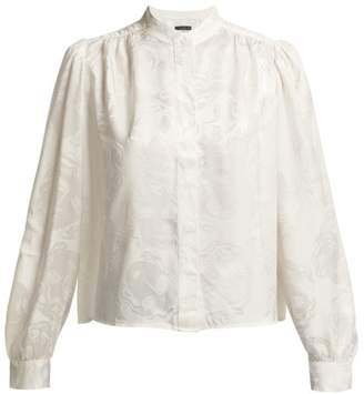 ALEXACHUNG Face Jacquard Silk Blend Satin Blouse - Womens - White