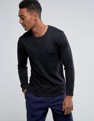 Calvin Klein Black Sweat Top with Bold Emboidered Logo