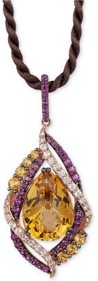 """LeVian Le Vian Crazy Collection Multi-Stone 18"""" Pendant Necklace (12-1/3 ct. t.w.) in 14k Rose Gold, Created for Macy's"""