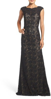 Women's La Femme Backless Beaded Lace Gown $478 thestylecure.com