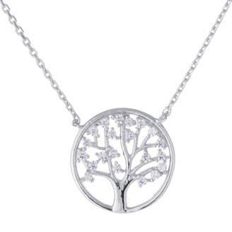 SILVER TREASURES Silver Treasures Womens Sterling Silver Cubic Zirconia Tree of Life Pendant Necklace