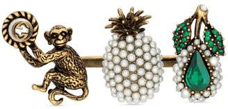 Gucci Multi-finger ring with fruit and monkey