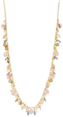 Gold Tone Disc, Pink Acetate & Blue Bead Charm Necklace