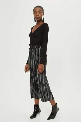 Topshop Petite MeTallic Striped Plisse Trousers