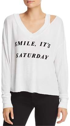 Wildfox Couture Smile It's Saturday Waffle-Knit Tee