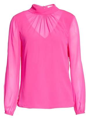 Ted Baker Ruched Silk High Neck Blouse