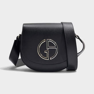 1deafc177 Giorgio Armani Medium Shoulder Bag In Black Calfskin