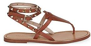 Valentino Women's Rockstud Double Pebbled Leather Wrap Thong Sandals
