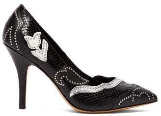 Isabel Marant Pavine Studded Snake Effect Leather Pumps - Womens - Black