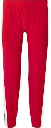 Norma Kamali Striped Stretch-jersey Track Pants - Red