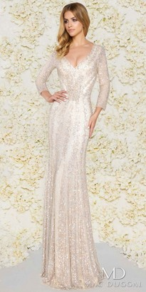 Mac Duggal Fully Sequined 3/4 Sleeve Sheath Evening Dress $578 thestylecure.com