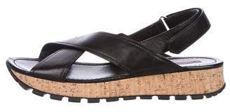 Prada Sport Leather Flatform Sandals