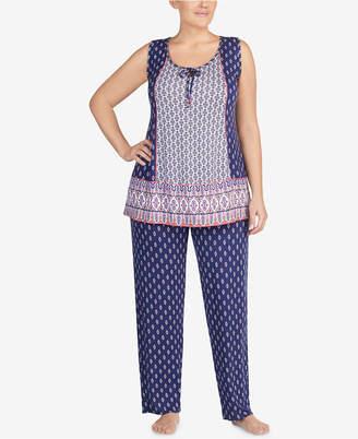 Ellen Tracy Plus Size Contrast Tassel Jersey Pajama Set