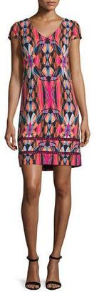 Laundry By Shelli Segal Cap-Sleeve Printed Sheath Dress, Black $225 thestylecure.com