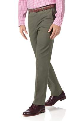 Charles Tyrwhitt Olive Slim Fit Stretch Non-Iron Cotton Tailored Pants Size W32 L30