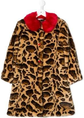 Dolce & Gabbana contrasting collar faux-fur coat