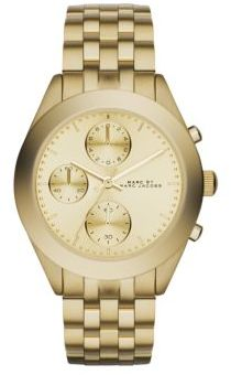 Marc by Marc Jacobs Peeker Goldtone Stainless Steel Chronograph Bracelet Watch $275 thestylecure.com