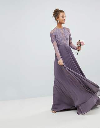 Asos Bridesmaid Long Sleeve Lace Pleated Maxi Dress
