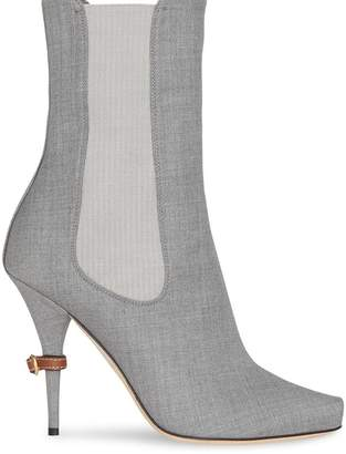 Burberry Stretch Wool Blend Peep-toe Boots