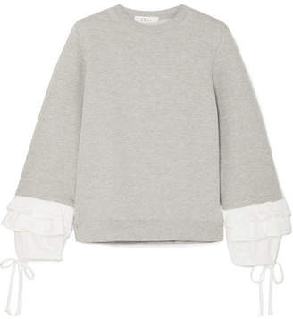Clu Ruffle-trimmed Cotton-blend Jersey Sweatshirt - Gray