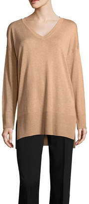 WORTHINGTON Worthington Womens V Neck Long Sleeve Stripe Pullover Sweater