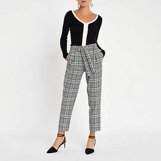 River Island Navy check tie waist tapered pants