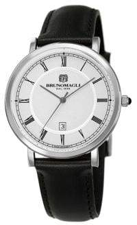 Bruno Magli Milano 1201 Stainless Steel & Leather-Strap Three-Hand Watch