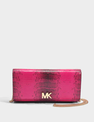 MICHAEL Michael Kors Mott Large East-West Clutch in Ultra Pink Python Embossed Calfskin