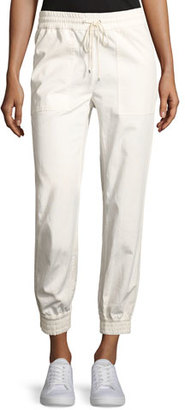 Theory Cortland Relaxed Cotton Jogger Pants, Ivory $235 thestylecure.com