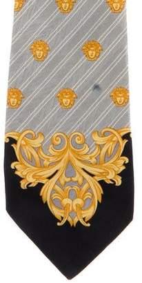 Gianni Versace Striped Medusa Print Silk Tie