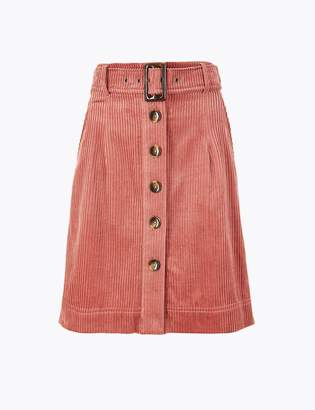 Marks and Spencer Corduroy Belted A-Line Mini Skirt