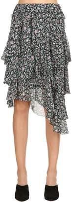 Etoile Isabel Marant Jeezon Printed Viscose Ruffle Mini Skirt