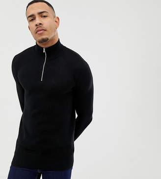 Asos DESIGN Tall Midweight Half Zip Sweater In Black