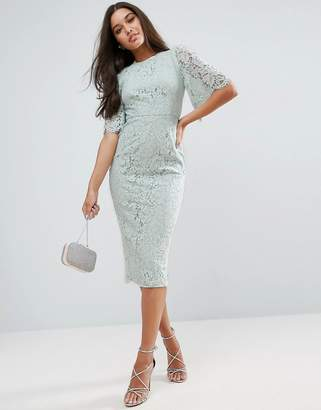 ASOS Flutter Sleeve Lace Pencil Dress $111 thestylecure.com