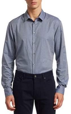 Giorgio Armani Raised Square Pattern Button-Down Shirt