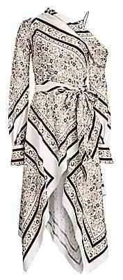 Jonathan Simkhai Women's Scarf Print A-Line Handkerchief Maxi Dress - Size 0