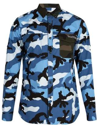 Valentino Camouflage Cotton Shirt - Mens - Blue