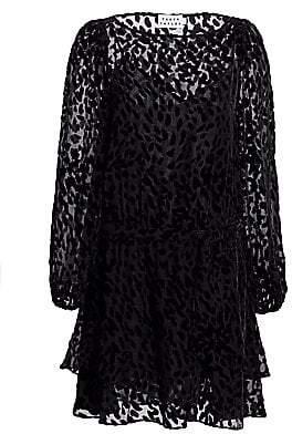 Tanya Taylor Women's Sarina Stretch Silk Burnout Leopard Mini Dress - Size 0