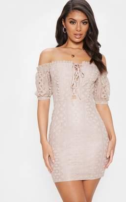 PrettyLittleThing Stone Lace Up Bardot Lace Bodycon Dress