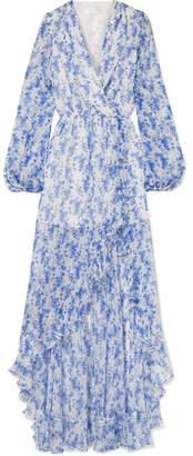 Caroline Constas Liv Wrap-effect Floral-print Silk-chiffon Maxi Dress - Blue