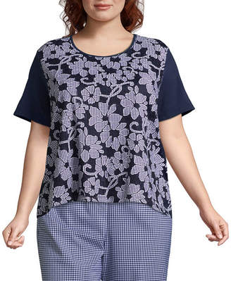 Alfred Dunner Perfect Match Lace Gingham Overlay Tee- Plus