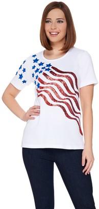Factory Quacker Stars and Stripes Sequin Short Sleeve T-shirt