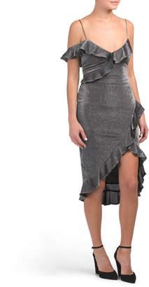 Made In Usa Metallic Knit Ruffle Dress